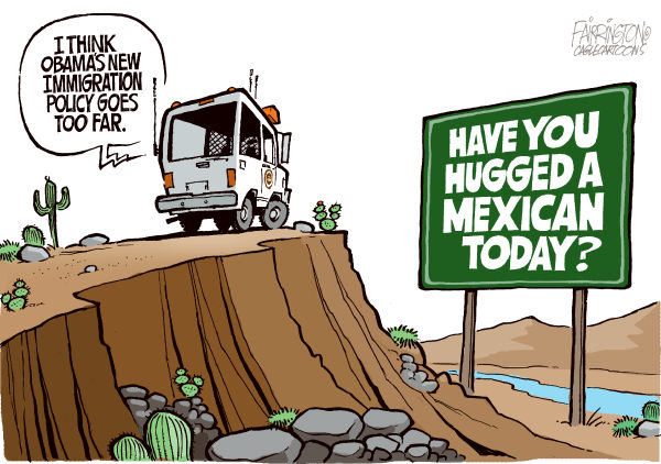 agoodcartoon:  The US Border Patrol considers it too much to ask to be kind to Mexicans, rather than inhumanly brutal. A sad cartoon.