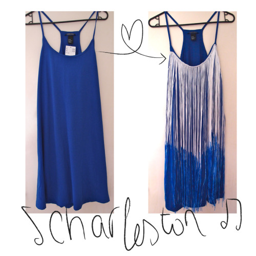 truebluemeandyou:  DIY Dip Dyed Fringe Dress Tutorial from Clones 'N' Clowns here. I like this idea of adding fringe whether you dye it or not.