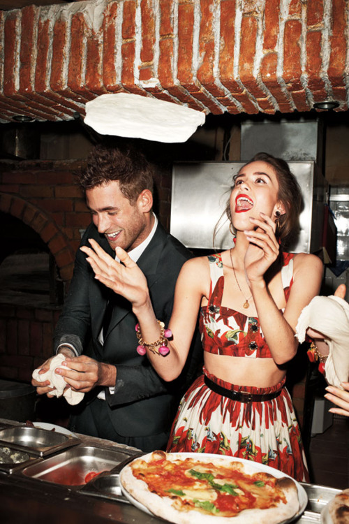 "Picture from Terry Richardson's ""Dinner with Dolce & Gabbana"" editorial in the April 2012 issue of Harper's Bazaar"