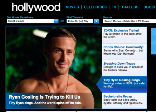 Hi guys. I wrote about Ryan Gosling and his seemingly neverending quest to ruin the entire universe. It's a cautionary tale, and an open letter about the real dangers of Ryan Gosling.
