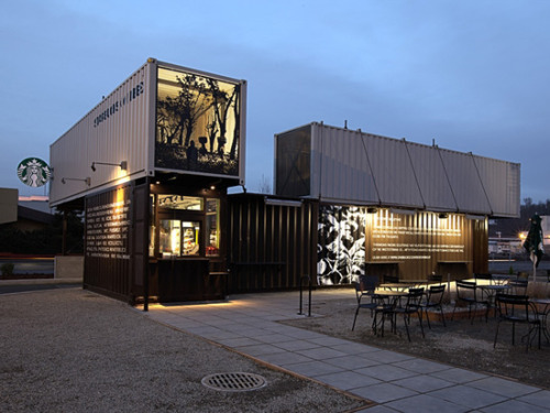 Shipping containers repurposed into coffeeshops.