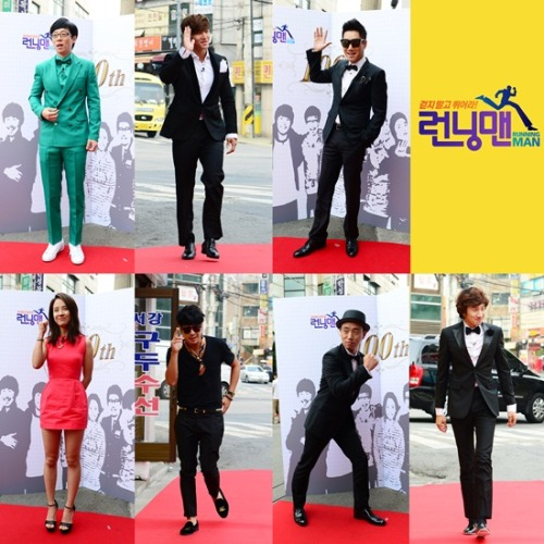 "masijacoke85:  Running Man Cast Celebrates 100th Episode, ""We never imagined we would make it this far""  On June 18th, the Running Man cast came to filming wearing their best outfits to celebrate the filming of their 100th episode. The members were all smiles as they walked down the red carpet, giving their best poses to the onlooking fans.  (Source)     Yoo Jae Suk in his 'favorite' green! :D"