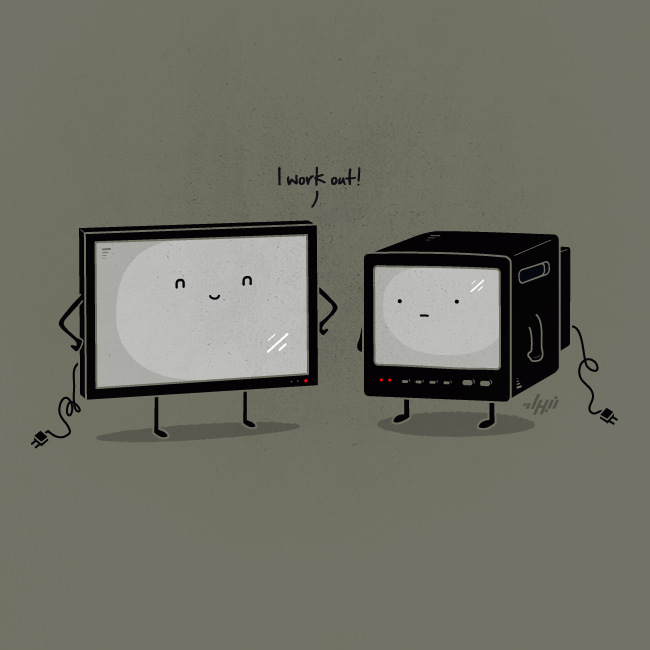 Flat Screen  Ever wondered how TV's got flat? —— Nabhan Abdullatif Gallery , Facebook , Twitter , Tumblr