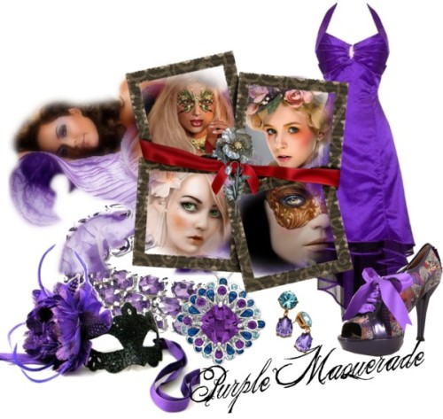 Purple Masquerade by witchy13 featuring an amethyst bangleBall gown, $70Poetic Licence striped shoes, $115LORD TAYLOR two tone jewelry, $225Blue Nile amethyst bangle, $250Kenneth Jay Lane teardrop earrings, $95Luxury Purple Venetian Mask | Purple Starburst Feather Mask |…, £50