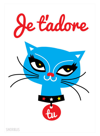 My new French cat print by Snorkus on sale at Folksy UK