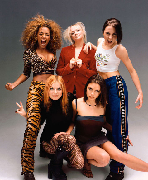 The Spice Girls  Top from left to right: Scary Spice (Melanie Brown), Baby Spice (Emma Bunton), and Sporty Spice (Melanie Chisholm) Bottom from left to right: Ginger Spice (Geri Halliwell) and Posh Spice (Victoria Beckham)