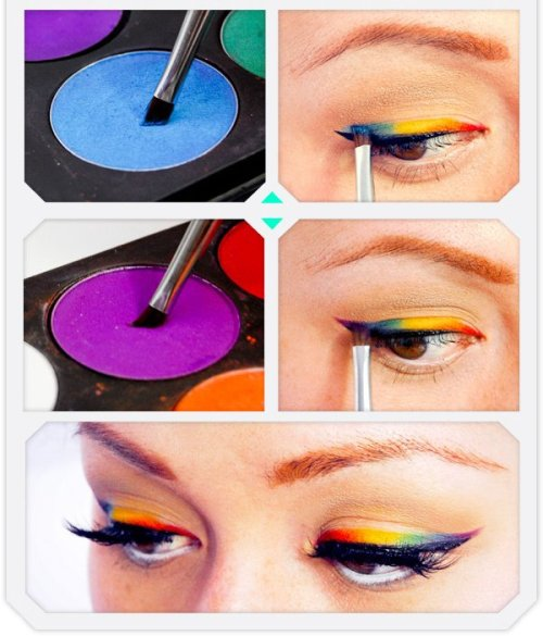 sugarpillcosmetics:  Sweet! Jazziebabycakes of Beautylish shows us how to achieve the rainbow eyeliner look using all Sugarpill pressed eyeshadows:http://www.beautylish.com/a/vcywi/rainbow-eye-liner-tutorial