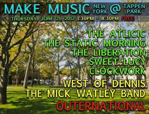 THURSDAY: Outernational is celebrating the Summer Solstice with Make Music New York in Staten Island at the Historic Tappan Park! Music all day - band hits at 7 PM!  Click HERE for all details. Read this profile on the band in the Staten Island Advance: You say you want a revolution tonight on Staten Island?