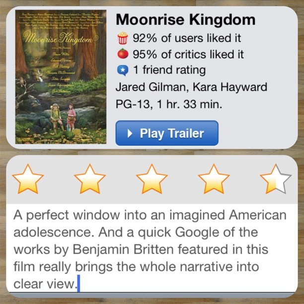 #InstaReview for Moonrise Kingdom (Taken with Instagram)