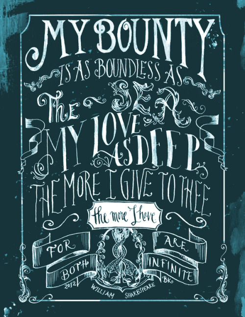 (via Love Quote on the Behance Network) Quote by W.Shakespeare, from Romeo and Juliet. Illustrated by Biljana Kroll