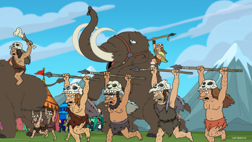 "Countdown to Futurama: Mastodon Well, that's it for another Countdown to Futurama. The special one-hour season premiere airs tomorrow at 10/9c. But first, here's one more advanced look at what's to come. It's a still from ""Fun on a Bun,"" the new season's eighth episode. You know, just because I'm not giving your behind-the-scenes Futurama nuggets anymore, doesn't mean we can't still hang out. Actually, my steel drum nonet is doing a recital this weekend. You should totally come! Guys? Guys?"