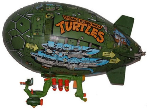 Nothing about the Teenage Mutant Ninja Turtles Blimp makes sense. An enormous, slow-moving, easily attackable vehicle would seem idiotic even if the Turtles weren't carrying tons of sharp edged objects that could easily puncture the hull. Then there's the issue of storage. How do you get a gigantic blimp down into the sewers?