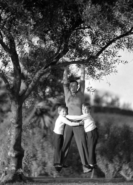 Buster Keaton and his sons, Robert and James