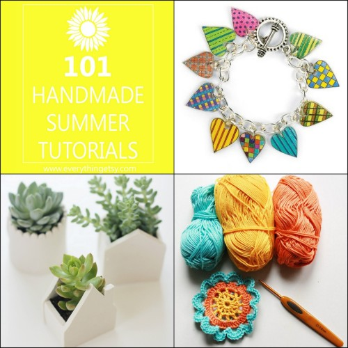 DIY 101 Handmade Summer Tutorials from Everything Etsy here. *A few that I liked from the list from Upper Right Clockwise: Shrinky Dink Heart Charm Bracelet from Michaels here. Clay House Planters from Say Yes to Hoboken here. Crocheted Japanese Flower from revving it up here.