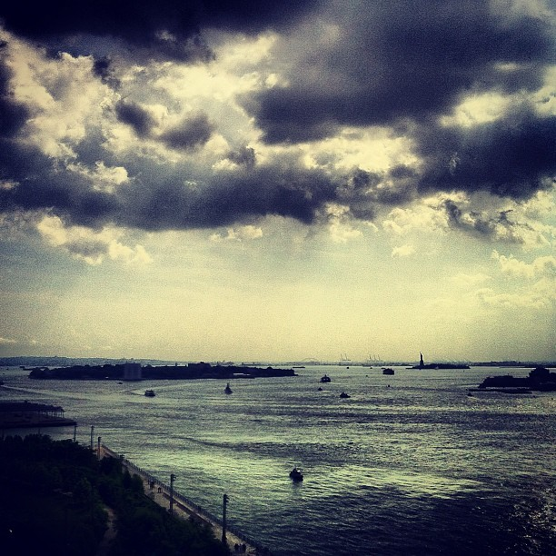 thedailyfeed:  New York Harbor seen from the Brooklyn Bridge. Can you spot the Statue of Liberty? (Taken with Instagram)