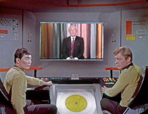 What is the Enterprise bridge crew watching today?