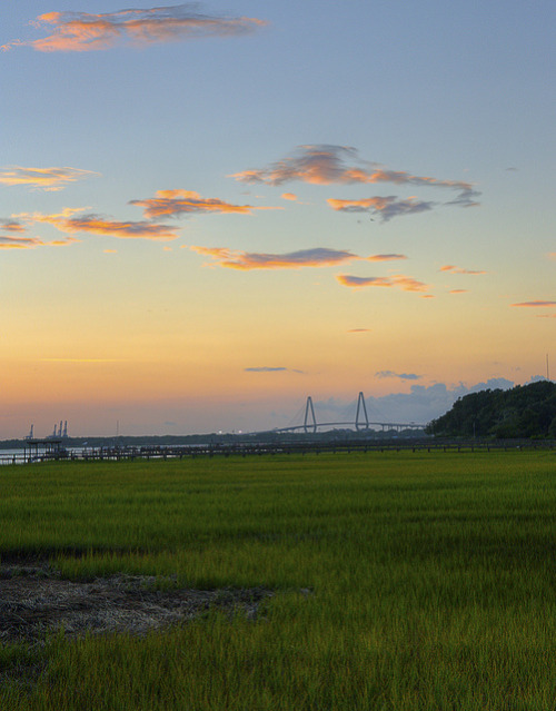 intracoastal-wanderings:  Marsh, river, bridge, port View from Mount Pleasant, SC