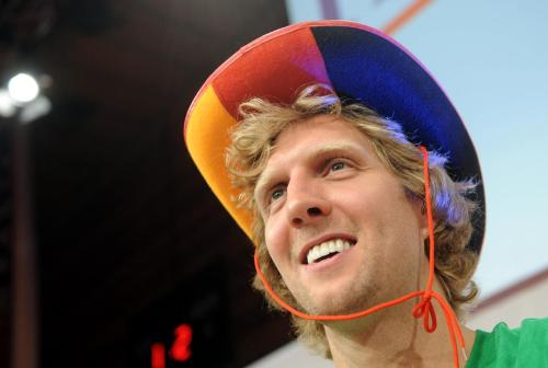 nbaoffseason:  Herzlichen Glückwunsch zum Geburtstag to Dirk Nowitzki, who is turning 34 today. Dirk is still a reigning NBA champion for a few more days, and should have almost finished that $80,000 bottle of champagne by now. He's definitely out partying somewhere today, and we can only hope he's still wearing that hat.