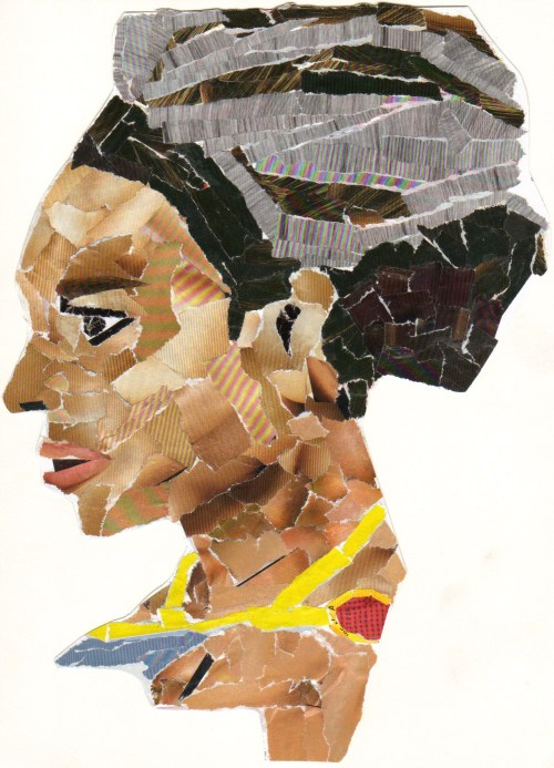 An experimental collage portrait of Beyonce
