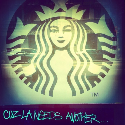 Does LA need another #Starbucks a block away from the one at #GowerGulch? What is a better indicator of #sarcasm? The #elipsis… or #ALLCAPS? (Taken with Instagram at Hollywood & Vine)