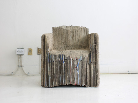 "Reborn Cardboard Sofa by Monocomplex: A Different Kind of Flatpack Furniture - Core77: A Seoul-based design Monocomplex project not intended for production, but kinda amazing: ""Reborn Cardboard Sofa"":  Reborn cardboard sofa contains a meaning that it reuses cardboards which were dumped after wrapping products and revives it as a product for use. It was produced by connecting 127 cardboards as a solid one and cutting its form with a grinder and saw, not by development figure. It expresses truthfulness of this project by its designer starting from its basic size, sitting on it himself, gradually fitting the body and carving it."