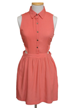 Collared Side Cutout Dress in Coral