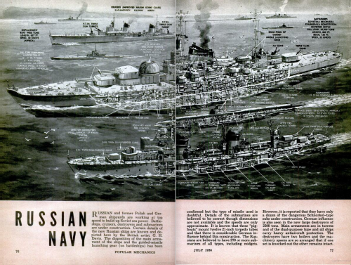 popmech:  The Russian Navy. July 1950 Popular Mechanics.