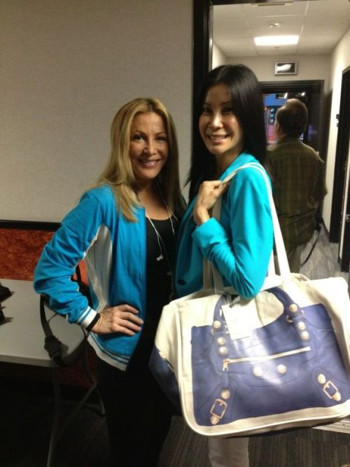 Kym Douglas and Lisa Ling at Good Day LA with a Moto Super Together in blue.  Cute!