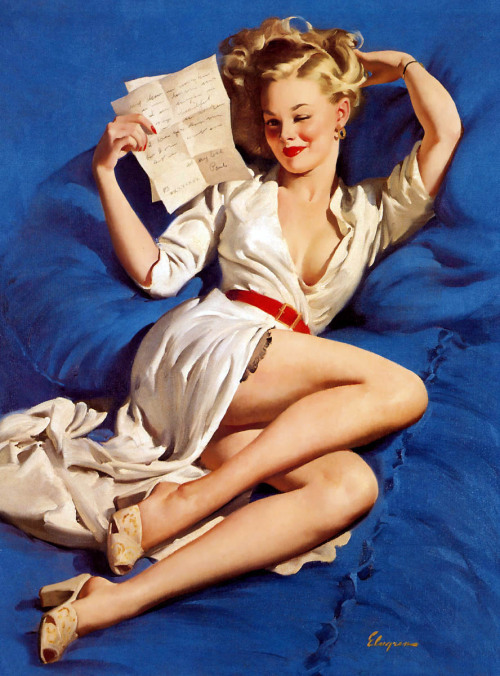 """He Thinks I'm Too Good to be True"" by Gil Elvgren, 1947"