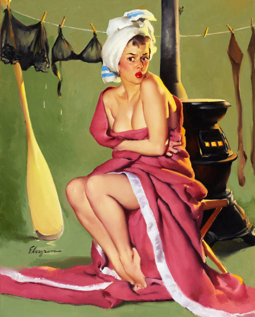 """Blanket Coverage"" by Gil Elvgren, 1952"