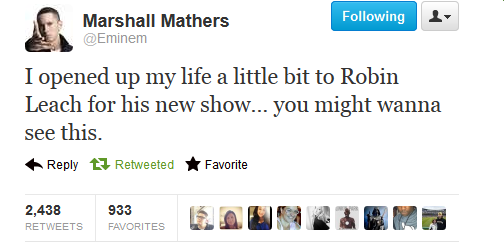 "welcometoslimscrazyworld:  New Eminem News: Eminem just tweeted this about ""Robin Leach"" and ""Robin Leach"" is a reporter/interviewer, so guys - expect a new Eminem interview soon ;)"