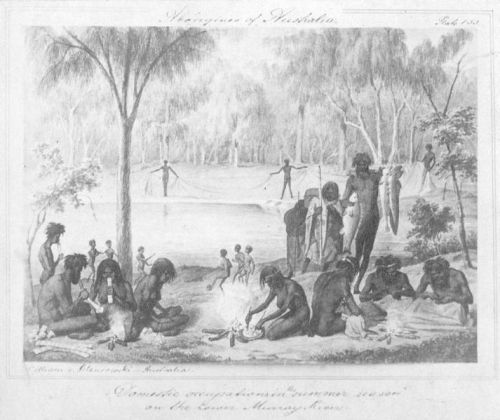 "An illustration from the 1850s of Australian Aboriginal hunter gatherers. Children in the background are playing a football game, possibly WoggabaliriWoggabaliri is a non-competitive game played with a ball made of Bulrush roots wrapped in possum fur where the aim is to keep the ball in the air using football (soccer) type skills of teamwork and ball control. Played by the Wiradjuri and surrounding peoples before European arrival,Woggabaliri is the Ngunnawal word for ""play"". Author Ken Edwards notes that a similar game with a ball made of grass covered in beeswax was also played by the Jingili people of the Northern Territory."