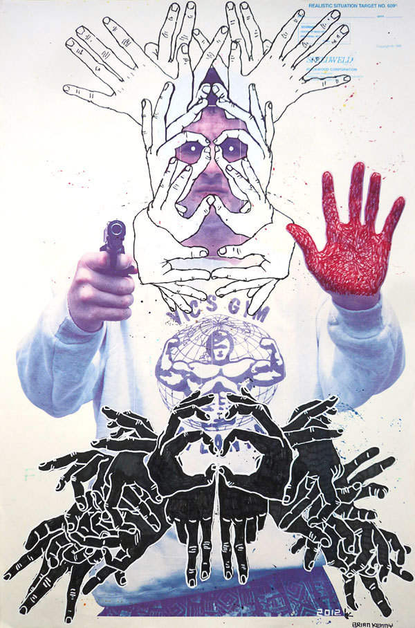 Caught Red Handed, 2012by Brian Kenny Kenny's latest solo show, The Hole Truth, opens June 20th at Envoy Enterprises in New York.