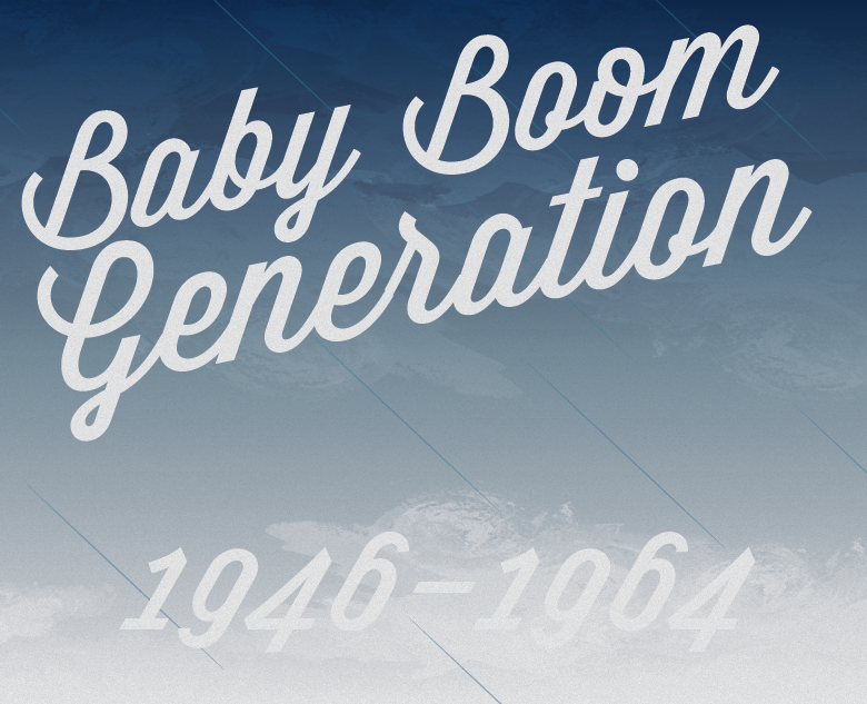 The Baby Boom Generation  The Baby Boom Generation is the generation that was born following World War II, from 1946 up to 1964, a time that was marked by an increase in birth rates. In Europe and North America boomers are widely associated with privilege, as many grew up in a time of affluence. One of the features of Boomers was that they tended to think of themselves as a special generation, very different from those that had come before them.   Generations is a set of images illustrating the eight groups of generations in the Western world. Each image is illustrated in homage to one of the main artistic styles popular during the birth of that generation.