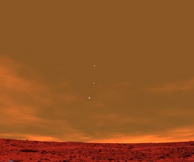 bravelittlerobot:  A view of Earth, Jupiter and Venus (top to bottom) from the surface of Mars.