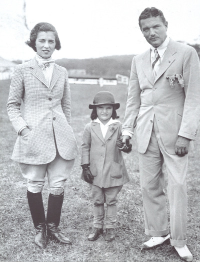 Janet and John Bouvier with 5-year-old daughter Jackie (the future Jackie Kennedy Onassis) at a horse show in Southampton in 1934. Her face never really changed!