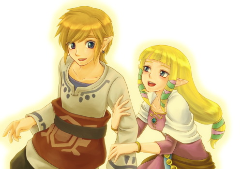 I am honest: I am no fan of the pairing of Zelda and Link and I think there are not in every Zelda-Game hints for that. But in Skyward Sword I got the first time flashed by the two! *__* They are really sweet together and I like them in Skyward Sword very much ♥