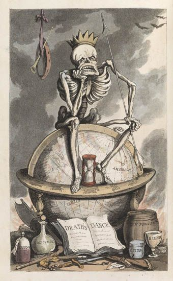 "The English Dance of Death Thomas Rowlandson. London, 1814-16; 1817.   First editions.  2 volumes, along with The Dance of Life, together, 3 volumes. Engraved colored title-page and 37 hand-colored engraved plates in each volume of the Dance of Death, 25 hand-colored plates in the Dance of Life, by Rowlandson. Tall 8vo, contemporary calf with gilt borders and spines, green and tan spine labels, by Tout.   From bookride:  ""Rowlandson's work, among his best, is a jollier affair more of a satire on the follies and anomalies of his time. Gordon N. Ray claims that this work is ""the only series on the subject since Holbein's to rival that master."" Martin Hardie writes: ""It is obvious at a glance that the artist bestowed exceptional care on the illustrations for this book. The union of the gruesome and the grotesque appealed strongly to his imagination, and in completeness of detail and carefulness of grouping the illustrations excel nearly all his other work. The hand-colouring also has been judiciously applied. Combe's versification is full of wit, and shows a force and vigour surprising in a man who had passed his allotted threescore years and ten — a fact that adds a certain grimness to the work."" """
