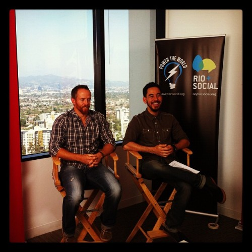 linkinpark:  Getting ready for our #rioplussocial panel. Tune in at http://YouTube.com/thewarnersound (Taken with Instagram)