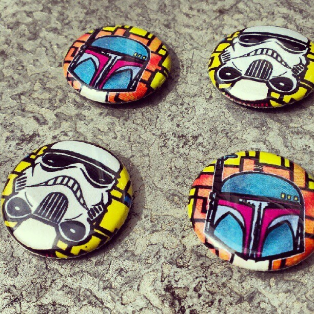 abstractcelebrity:  Star Wars pins by MOP$ (thanks to @chrisreject) hmu if you want a set! #starwars #stormtroopers #bobafett #nerd (Taken with Instagram)
