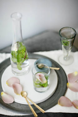 Minted Rose Water Ingredients {for a tiny carafe}:* 2 cups of cool water, * 1/4 teaspoon of Rosewater, * 2 sprigs of Mint, * a few rose petals. Note: Roses that organic and pesticide free are edible and you can use them in your drink. Add your local floral market or Whole Food Market is always a good store to find them.