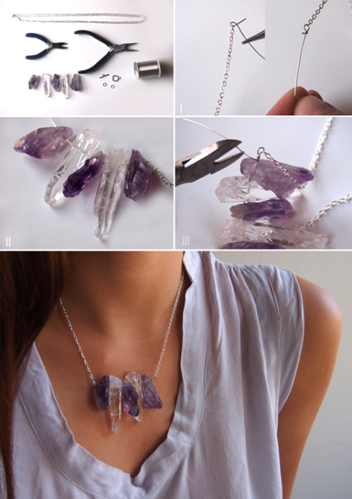 plumetisbazaar:  DIY: raw crystal necklace (via because im addicted)