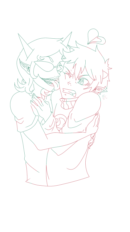 This is one of my fave like I really like how Karkat came out here I think I could actually colour this