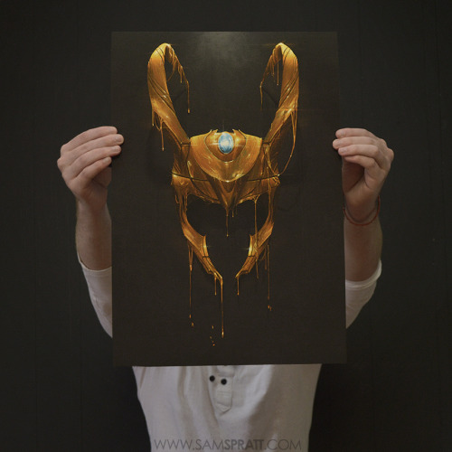 "samspratt:  Sam Spratt's Loki Print Giveaway!  This is the first and only signed print of my Loki piece, ""Gilded II"" (Black Edition… because black is cool). I'd like to give it to one of you. Just head on over to my facebook and comment and/or share the image and I'll select a winner at random at the end of the week, then ship it out (worldwide) the next week. Since some of you are morally opposed to facebook, I will count reblogs here on tumblr as well <3Prints of the standard (green) edition are available HERE"
