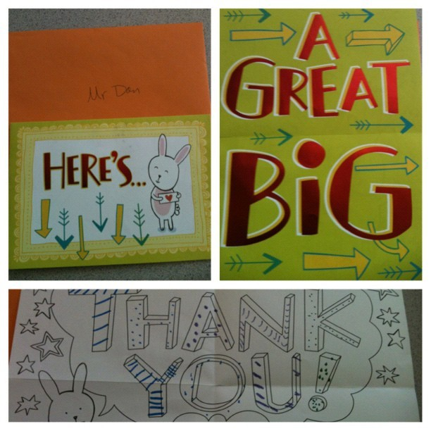 Another thank you card from my kids (Taken with Instagram at Duffy)