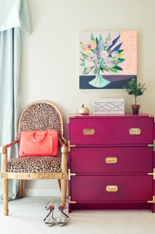 The perfect pink and gold dresser.