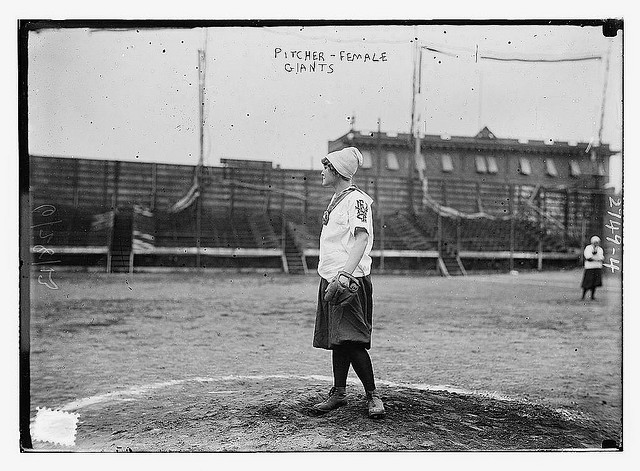 Pitcher for the New York (Female) Giants, 1913. Source and more photographs: http://worldinsport.com/2012/03/the-female-new-york-giants-all-women-professional-baseball-100-years-ago/