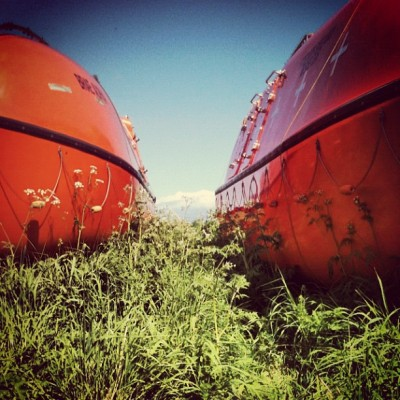Lifeboats #lifeboats #boats #boat #sailing #ship #orange #safety #grass #weeds #field #plants #sky #blue #scotland #cloud #summer #sunny #50likes #100likes #instagood #instagram #iphoneonly  (Taken with Instagram)