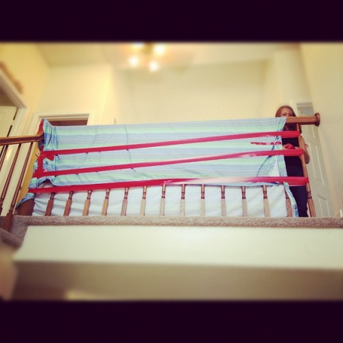 Hadlee proofing the stairs at my brother's house! (Taken with Instagram at Todd and Tammy's)