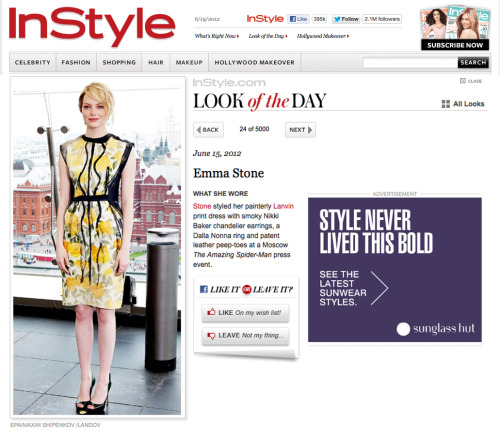 "InStyle Look of the Day - Emma Stone wearing LANVIN and Gioielli By Nikki Baker Tourmaline Chandelier Earrings. ""Do you like it or leave it?"" We love it!!"